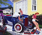 Shade Tree Mechanic Limited Edition print flathead powered 32 ford Highboy Roadster