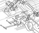 Automotive technical illustration of rear suspension for instruction sheet=