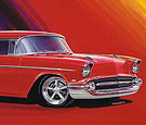 Concept art of Vic Edelbrock's 1957 Chevy built by Posies