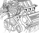 Automotive technical illustration of fuel injection components for text book=