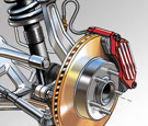 Automotive technical illustration of car front suspension